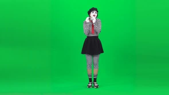 Thumbnail for Mime Girl Looking Touched By Something. Chroma Key. Full Length