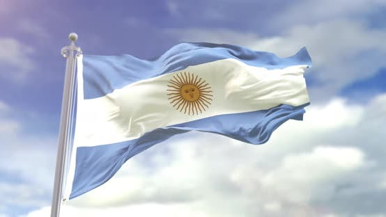 Realistic Argentina Flag Slow Motion 4K