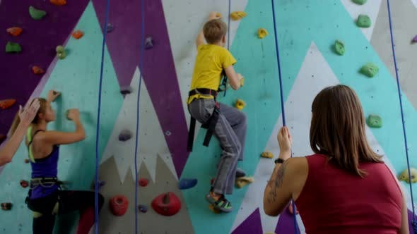 Thumbnail for Group of Climbers Practicing at Climbing Wall