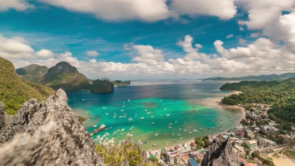 Thumbnail for Aerial Panorama on the El Nido Lagoon and Boats on the Azure Sea in Palawan Island, Philippines