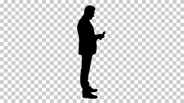 Thumbnail for Silhouette Businessman is counting money, Alpha Channel