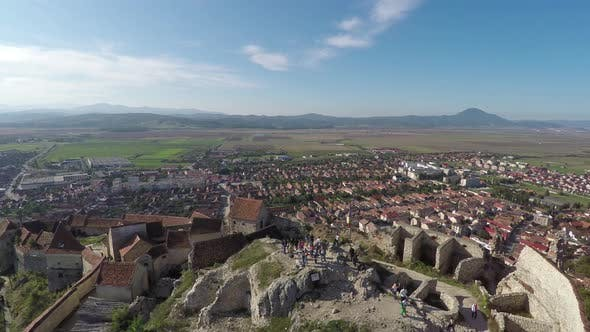 Aerial of Rasnov town behind the fortress