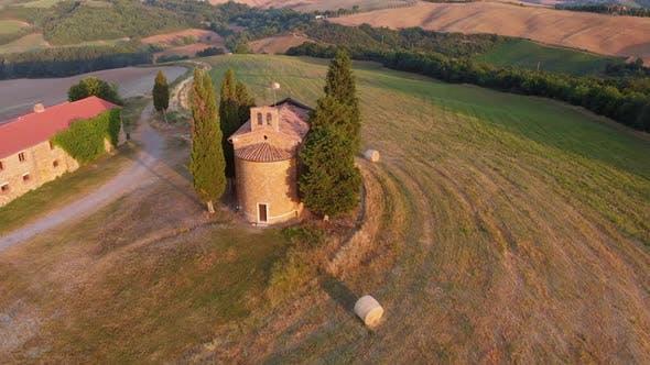 Aerial Orbit Over The Famous Tuscanian Chapel Vitaleta
