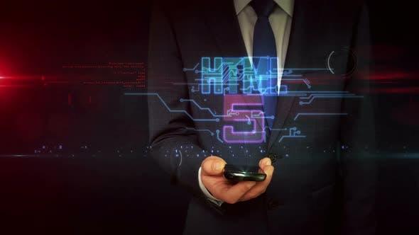 HTML5 coding symbol on businessman hand