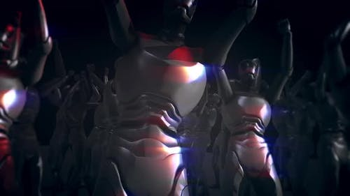 Cyber Humanoid Robots Comes Together And Dances In Techno Party V2