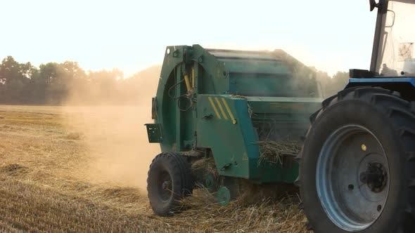 Farmer Harvesting Straw.