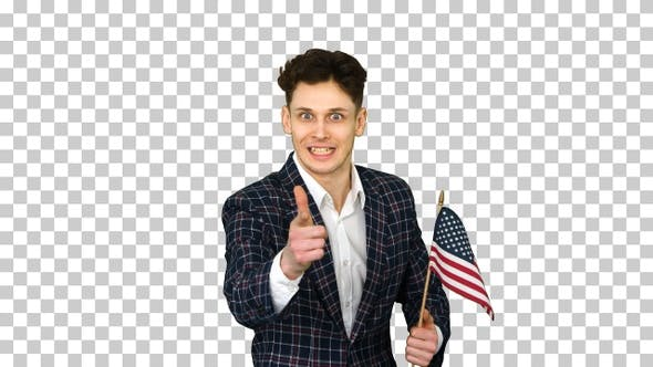 Thumbnail for Agitator with American Flag Calls to Vote, Alpha Channel