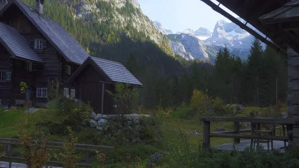 Wooden Huts On A Meadow At Austrian Alps 2