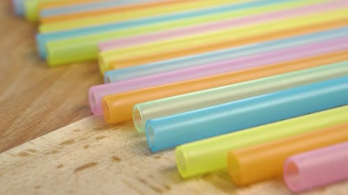 Multicolored plastic drinking straws