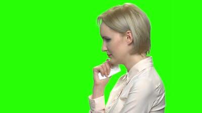 Sad Woman Crying with Handkerchief