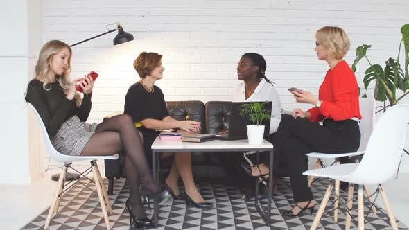 Thumbnail for Skilled Multicultural Female Bloggers Discussing New Themes for Media Web Page.