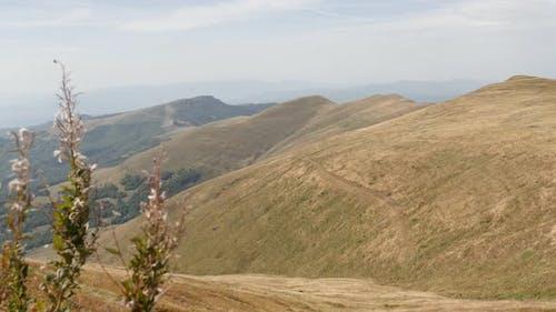 Slow pan on mountain ranges of Stara planina  4K 2160p 30fps UltraHD footage - View to Babin zub fro