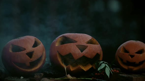 Thumbnail for Scary carved halloween pumpkins with smoke