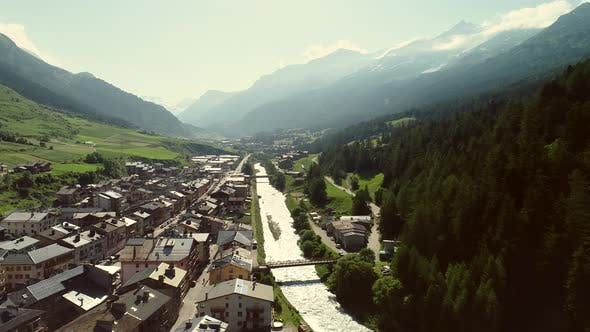 Thumbnail for Aerial view of Lanslebourg village in Savoie, France.