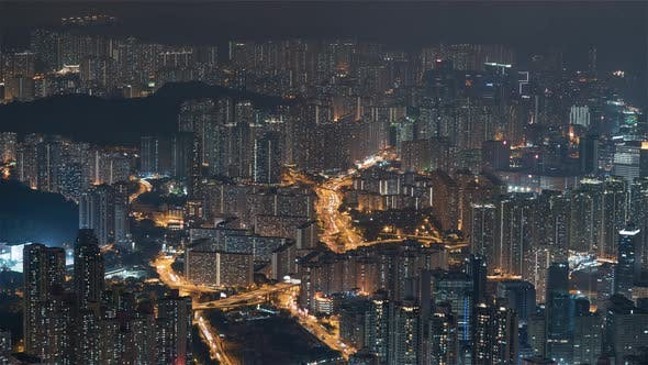 Cover Image for Hong Kong, China, Timelapse  - The Buildings at night