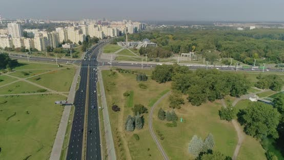 Thumbnail for Morning in Minsk city, Street Crossroad Moving Cars, Aerial View Residential Buildings Housing Area