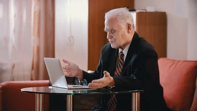Elderly Grandfather - Old Grandfather Is Swearing at a Computer