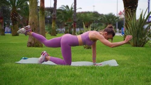 Girl Doing Core Exercise Bird Dog