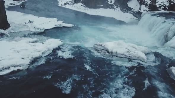 Thumbnail for Beautiful Winter Aerial View Of Godafoss Waterfalls