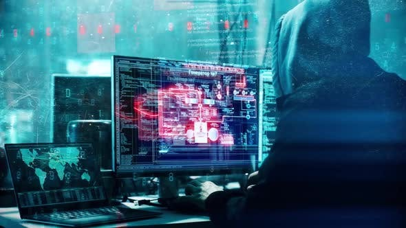 Hacking artificial neural network, cybersecurity concept