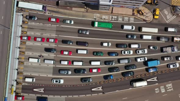 Thumbnail for Top view of traffic congestion in Hong Kong