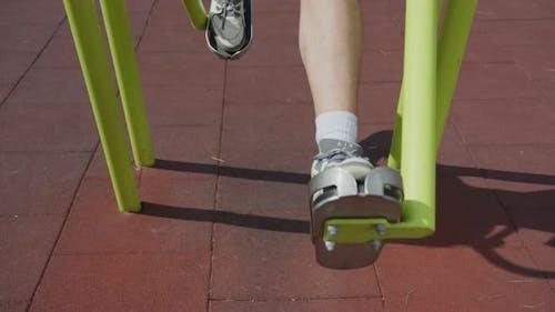 Exercising on an air walker