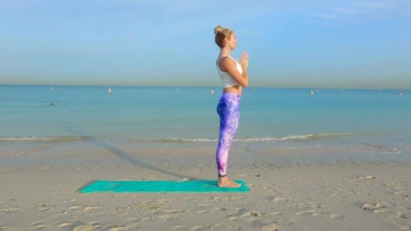 Thumbnail for Woman Do Yoga Still Asana on the Beach