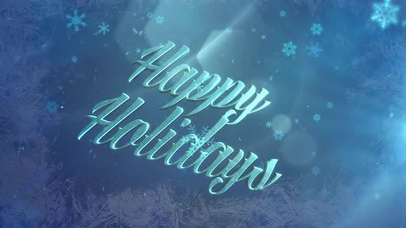 Abstract blue snow falling and animated close up Happy Holidays text on shiny background