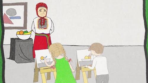 Kinder im Klassenzimmer mit Staffeleien lernen Zeichnen