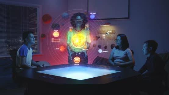 Thumbnail for Teacher Using Solar System Hologram in Class