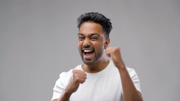 Indian Man Celebrating Victory