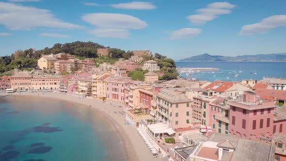 Thumbnail for Aerial Shot Sestri Levante a Town on the Ligurian Coast in Italy City Landscape