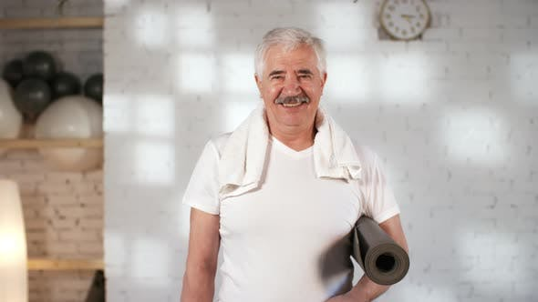 Thumbnail for Happy Grey-Haired Caucasian Customer Smiling after Yoga Class