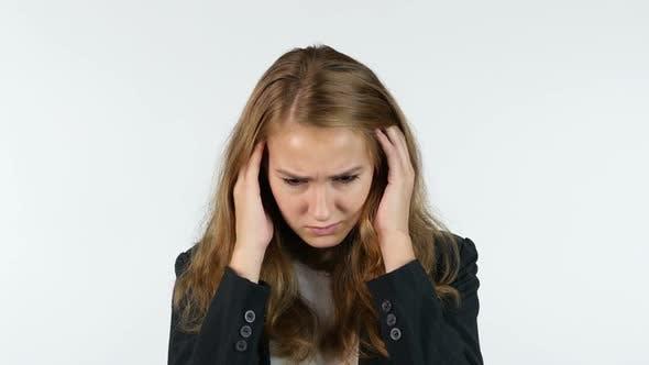 Thumbnail for Headache Businesswoman , Pain In Head, White background