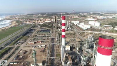 Drone view of petrochemical oil refining complex. Oil and associated gas tanks