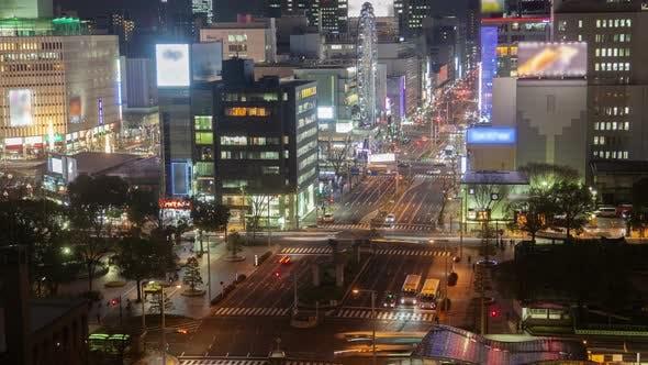 Nagoya Main Highway Traffic Night Flow Timelapse