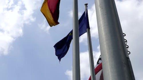 Flags On Poles - EU, Germany, Berlin