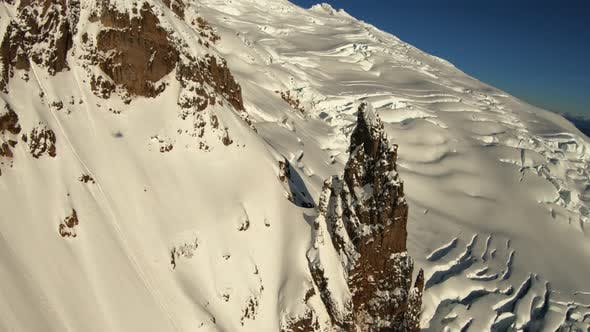 Thumbnail for Helicopter Aerial View Flying Over Mountain Top Rocky Glacier Mount Baker Washington State Usa