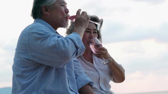 Senior adult man and woman drink wine
