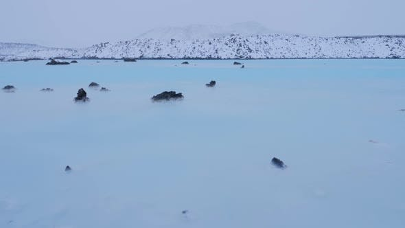 Thumbnail for Iceland Blue Lagoon Geothermal Hot Spring Rocks And Sulfur Water In Winter