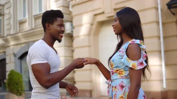 Thumbnail for Afro Couple Having Date Street