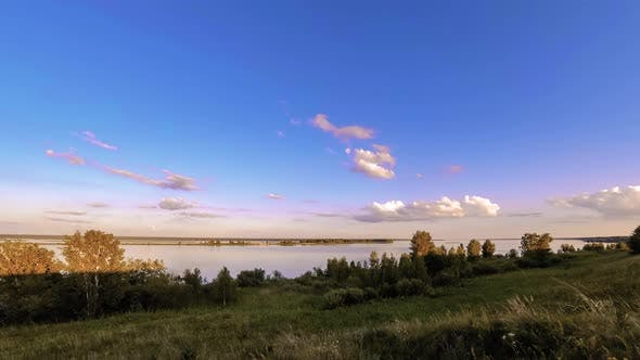 Thumbnail for Ocean Bank and Grass Meadow Timelapse at the Summer or Autumn Time