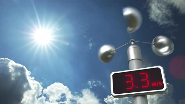 Anemometer Displays 30 Meters Per Second Wind Speed