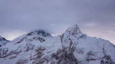 Everest and Nuptse Mountains. Himalaya, Nepal
