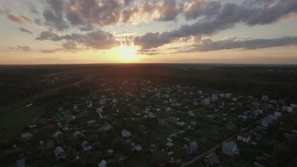 Thumbnail for Skyline Sunset and Village in Russia, Aerial View