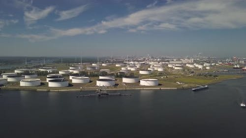Aerial of a terminal for storage of mineral oil products and chemicals
