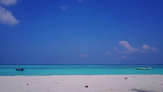 Daytime overhead copy space shot of a sandy white paradise beach and blue ocean background in best q