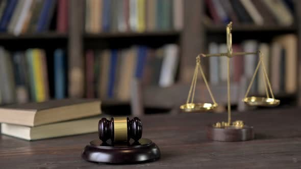 Thumbnail for Gavel and Gold Brass Balance Scale with Books on Judge Table