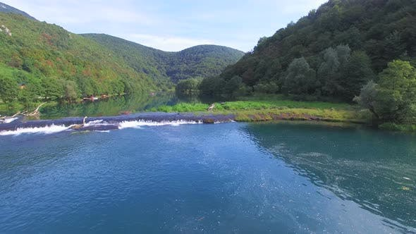 Thumbnail for Aerial view of water cascades on Una river in Bosnia