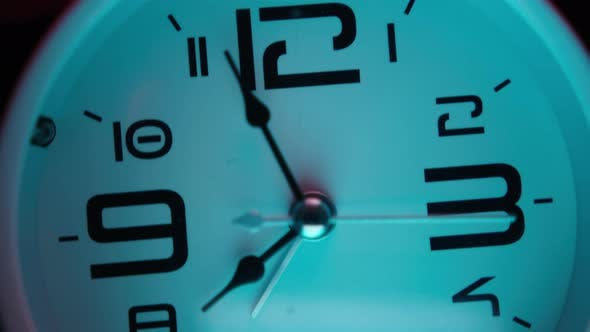 Thumbnail for White alarm clock in pink and cyan abstract colors. Close-up, alarm clock concept